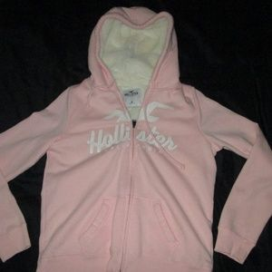 Hollister Pink Faux Fur Lined Full Zip Hoodie M